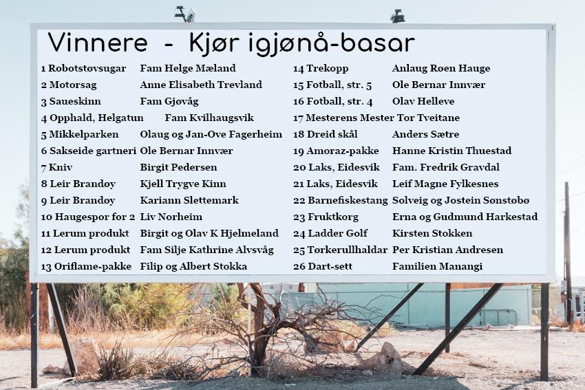 Vinnarar av hovudlotteriet etter Kjør igjønå-basaren!